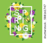 floral spring graphic design... | Shutterstock .eps vector #588161747