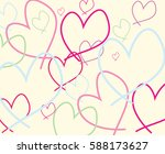 hand drawn hearts on a cream... | Shutterstock .eps vector #588173627