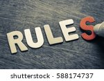 Small photo of Hand arrange wood letters as Rules word