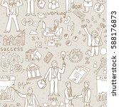 business people doodle. hand... | Shutterstock .eps vector #588176873
