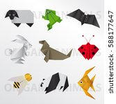 origami animals pack | Shutterstock .eps vector #588177647