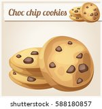 choc chip cookies icon. cartoon ... | Shutterstock .eps vector #588180857