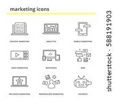 marketing icons set  content ... | Shutterstock .eps vector #588191903
