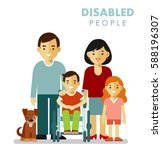family with disabled children... | Shutterstock .eps vector #588196307