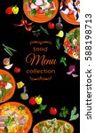 vertical salads menu with hand... | Shutterstock .eps vector #588198713
