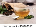 tea. herbal tea. mint leaf. tea ... | Shutterstock . vector #588207533