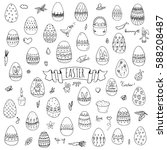 hand drawn doodle easter icons... | Shutterstock .eps vector #588208487