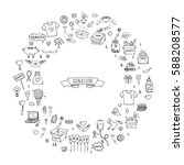 hand drawn doodle donation... | Shutterstock .eps vector #588208577