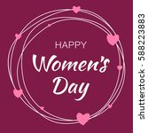 happy womens day hand drawn... | Shutterstock .eps vector #588223883
