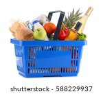 plastic shopping basket with... | Shutterstock . vector #588229937