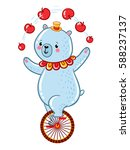 bear juggles apples  riding one ... | Shutterstock .eps vector #588237137