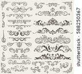 Flourish Border Corner and Frame Elements Collection. Vector Card Invitation Elements. Victorian Grunge Calligraphic. Wedding Invitations Set. Medieval Ornament Borders. Flower and Leaf Silhouette | Shutterstock vector #588250367