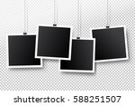 blank photo frame set hanging... | Shutterstock .eps vector #588251507