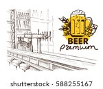 beer bar pub  long table with... | Shutterstock .eps vector #588255167