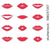 different women's lips set on... | Shutterstock . vector #588257357