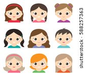 set of cute girls avatars on... | Shutterstock . vector #588257363