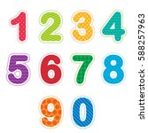 set of numbers from zero to... | Shutterstock . vector #588257963