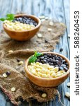 bowls with black and white... | Shutterstock . vector #588260453