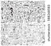 hand drawn food elements. set... | Shutterstock .eps vector #588268583