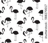Flamingo Silhouette Seamless...