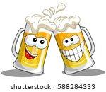 cartoon beer mug making cheers...   Shutterstock .eps vector #588284333