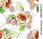 seamless pattern with floral... | Shutterstock . vector #588288317