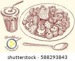 hand drawn breakfast... | Shutterstock .eps vector #588293843