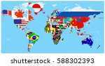 world flag map with a blue... | Shutterstock .eps vector #588302393