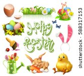 happy easter lettering and 3d... | Shutterstock .eps vector #588317153