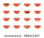 watermelon with face. emoticons ... | Shutterstock .eps vector #588322307