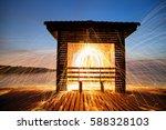 Hot Golden Sparks Flying From...