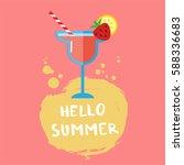 hello summer typographic poster. | Shutterstock .eps vector #588336683