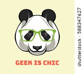 cute portrait of nerdy panda.... | Shutterstock .eps vector #588347627