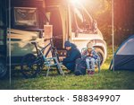 family vacation with motorhome. ...   Shutterstock . vector #588349907