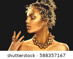 gold woman skin. beauty fashion ... | Shutterstock . vector #588357167