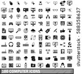 100 computer icons set in... | Shutterstock .eps vector #588358637