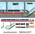 subway station platform set... | Shutterstock .eps vector #588361037