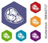 steak icons set rhombus in... | Shutterstock .eps vector #588365717