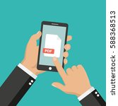pdf file icon on smartphone... | Shutterstock .eps vector #588368513