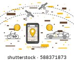 car and bicycle gps search... | Shutterstock .eps vector #588371873