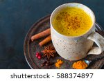 golden milk  made with turmeric ... | Shutterstock . vector #588374897