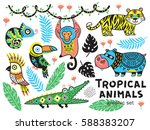 set of tropical animals with... | Shutterstock .eps vector #588383207