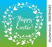 hand drawn vector happy easter... | Shutterstock .eps vector #588384683