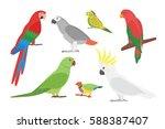 cartoon tropical parrot wild... | Shutterstock .eps vector #588387407