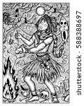 voodoo warlock or shaman making ... | Shutterstock .eps vector #588388697