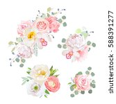 Stock vector spring delicate bouquets vector design objects peachy and pink roses peony carnation orchid 588391277