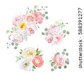 spring delicate bouquets vector ... | Shutterstock .eps vector #588391277
