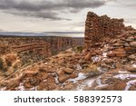 snow covered remnants of an... | Shutterstock . vector #588392573