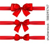 Set Of Red Bows With Horizonta...