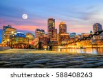 boston harbor and financial... | Shutterstock . vector #588408263